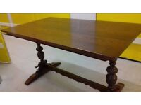 solid oak dining table,genuine Old Charm,length,carved leg,130cm,rectangular