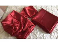 KING SIZE bedding set red faux satin USED ONCE