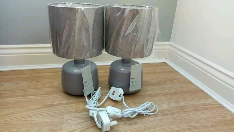 NEW pair of lamps - grey