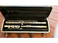 Beginners Bundy flute for sale with case and cleaning rod, used but good condition.
