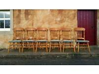 Farmhouse Dining Kitchen Chairs Light Oak Chesterfield Studs Green Velour VGC