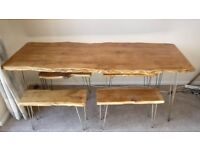 Hand Made Live / Waney Yew Wood Kitchen Dining Table W/ 4 Matching Benches OL16