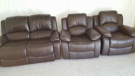 Leather recliner 2 seater sofa and 2 reclining chairs
