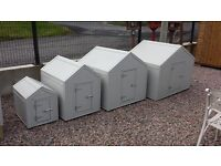 Dog kennels & Hen Arks with pvc sheeting covering them