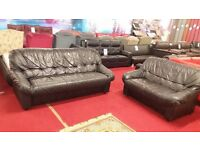 3 & 2 dark green leather sofas colour looks like black