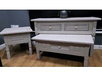 3 piece livingroom/hall set,solid large sideboard/hall table,coffee table & side table ex con as new