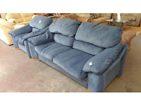 Blue fabric 2 seater sofa with armchair