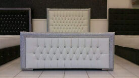Beautiful Princess Glitter Beds - Glitter outlined Headboard with Diamonds - Available in any Colour