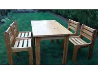 Pine table and 4 matching chairs