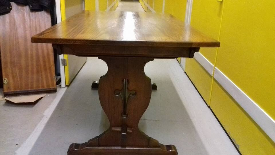 solid oak dining table,genuine Old Charm,length 150cm,made in England,no chairs