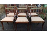 6 Regency dining chairs,solid Mahogany,carved,stable,2 carver,some wear,no table