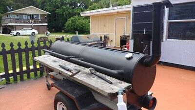 Pit Smoker Single Axle Trailer W Warming Box Backyard Bbq Grill