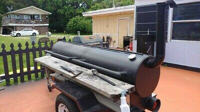 Pit Smoker Single Axle Trailer W Warming Box Backyard Bbq Grill