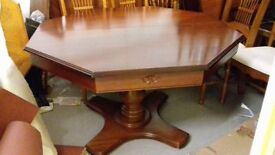 Luxury dining table,Octagon shape, mahogany, extendable, carved, 120-160cm,good surface,stable