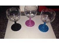 Made to order glitter wine glasses