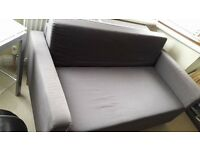 IKEA ullvi grey sofa bed vgc with purple throw