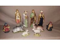 10 Vintage Christmas Nativity Set Ceramic Figures