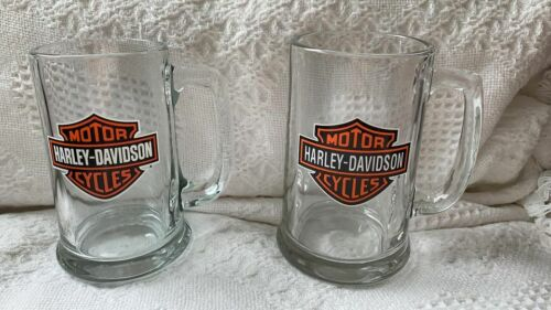 Harley Davidson SET OF 2~ 16 oz ~ Beer Mugs Glass Steins