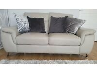 Sofa's 2 & 3 seaters look new. Grey leather from Collingwood Batchellor