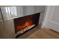 Mirrored electric fireplace