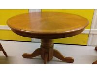 Round dining table,solid oak,non-extendable,carved,110 cm,adjust screw,no chair