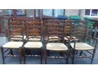 8 dining chairs, oak, ladder back,high back,rattan seat,stable & sturdy,no table