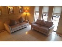 Brand New Luxurious Champagne Crushed Velvet Suite Couch Sofa Corner Interior Designer Bargain Deal