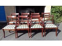8 Regency dining chairs,solid Mahogany,carved,stable,2 carvers,no table
