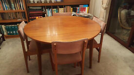 SOLID TEAK DROP LEAF DINING TABLE WITH OR WITHOUT 4 CHAIRS