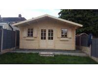 Log garden cabin , summer house , garden building 16 x 13ft x 34mm