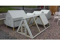 Wooden Hen Arks & Dog Kennels covered in pvc sheeting