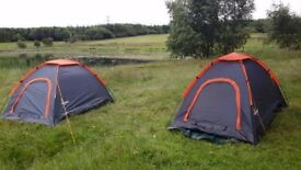 2 small dome tents, 2 man but small