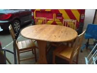 round folding pine table and 4 pine chairs - free delivery
