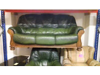 Green Leather, Oak Framed, 3 Seater Settee & Chair. Very Good Condition. Local Delivery. . .