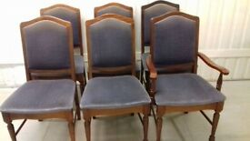 6 dining chairs,Victorian style, Mahogany,carved,stable,1 carver,clean cushions