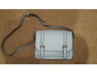 Light blue leather handbag