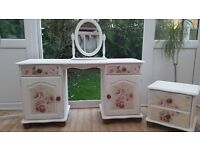 Painted Pine Dressing Table, Mirror and Bedside Table