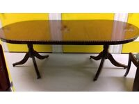 Regency dining table,mahogany,extendable,carved leg,high polish,good condition