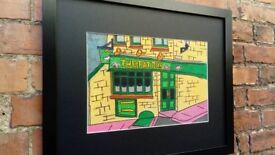 "An original pastel drawing of the ""FAT PIG"" pub in Exeter"