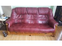 Burgundy Leather Chesterfield Style Thee Piece Suite Superb Condition