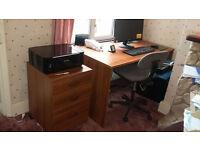 Wooden Desk & Drawers