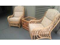 rattan chairs x2 and table