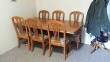 Tasmanian Oak Dining Table + 6 Dining Chairs Strathfield South Strathfield Area Preview