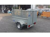"NEW 5' x 3'3"" GALVANISED CAR TRAILER WITH REMOVABLE MESHSIDES AND REAR RAMP DOOR"