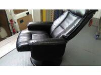 Black leather reclining swivel chair