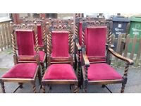 6 dining chairs,carved high back & helix leg,solid oak,stable,2 carvers,no table