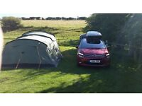 Full camping set up for 5 persons. Tent cooker roofbox carpet