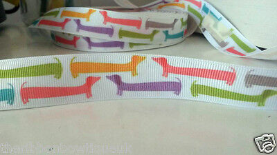 """1 metre - 22mm (7/8"""") wide MULTI COLOUR DACHSHUND DOG PRINTED GROSGRAIN RIBBON for sale  Shipping to United States"""