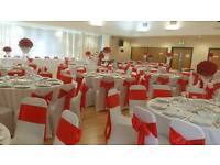 D.I.Y WHITE SPANDEX CHAIR COVERS(70p each) AND SASHES (30p each)WEST LONDON AND BERKSHIRE