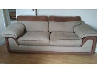 2 seater settee, chair and cushions for sale.